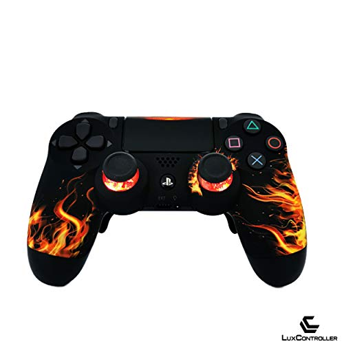 LuxController PS4 Custom LED Controller mit 2 Paddles, Rot Flammen Design, wireless Playstation 4 V2