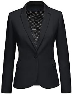 Womens Notched Lapel Pockets Button Work Office Blazer...