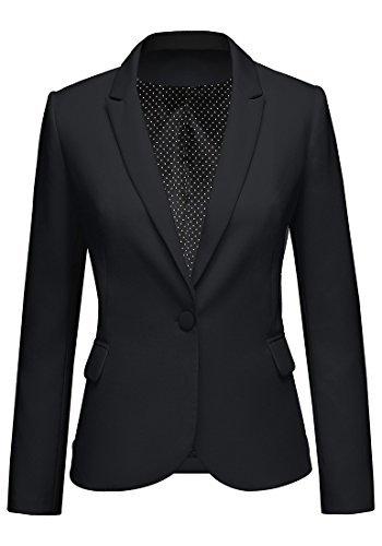 LookbookStore Women's Black Notched Lapel Button Work Office Blazer Jacket Suit Size M
