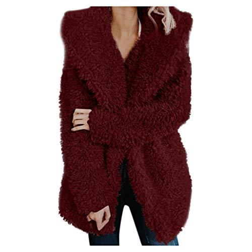 HIRIRI Women's Fuzzy Fleece Lapel Open Front Long Jackets Warm Winter Outerwear Cardigan Coat Wine