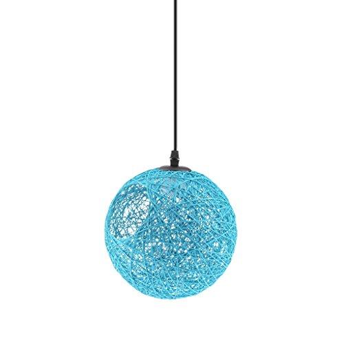 LOVIVER Abaca Rattan Ball Pendant Light Ceiling Chandelier Light Fitting Globe Lampshade - Blue