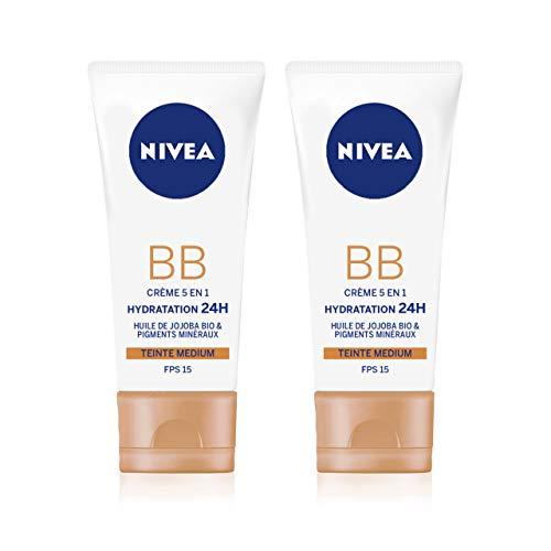 NIVEA Essentials BB Cream Hydratation 24H +Éclat (2 x 50 ml), Crème hydratante visage teinte Medium, Soin femme à l'huile de Jojoba BIO, Soin de jour FPS 15
