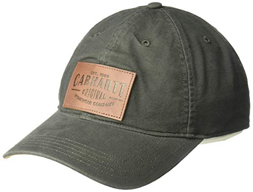 Carhartt Rigby Stretch Fit Leatherette Patch Cap Gorra de béisbol, verde oscuro, XL Unisex Adulto