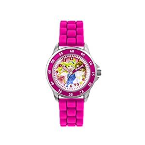 Principesse Disney - orologio al quarzo con quadrante rosa per imparare a leggere l'ora, cinturino in gomma bianca, da ragazza, PN1078