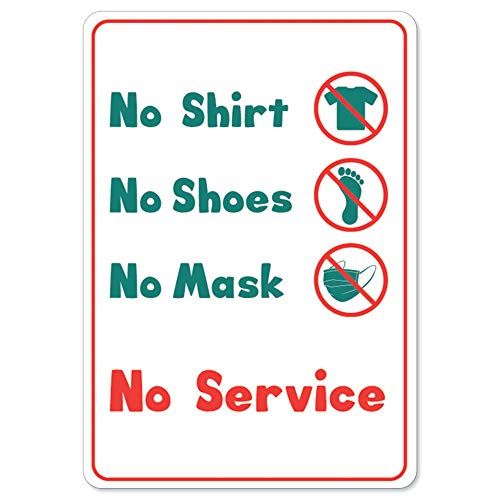 Public Safety Sign - No Service No Shirt No Shoes No Mask | Vinyl Decal | Protect Your Business, Municipality, Home & Colleagues | Made in The USA