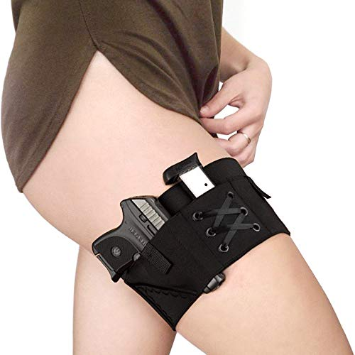 LIVANS Conceal Carry Holster for Women, Tactical Garter Holster Lady Concealed Leg Holster Pistol Thigh Holster Universal Revolver Pouch Elastic Hook and Eye Thigh Adjustable