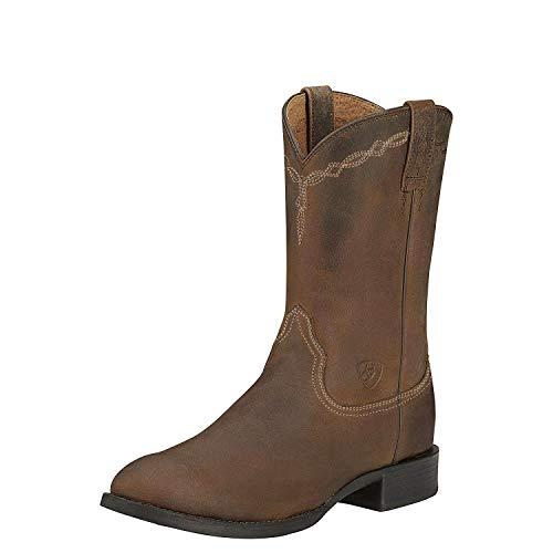 Ariat Men's Heritage Roper Western Cowboy Boot, Powder Brown, 12 2E US