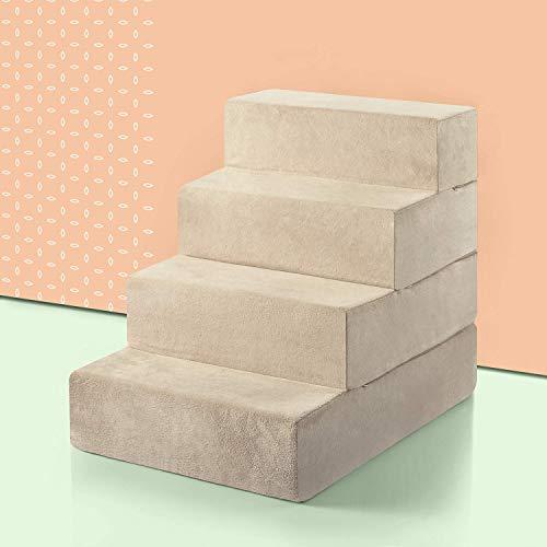 ZINUS Foam 56 cm cuatro escalones Escaleras para mascotas   Rampa para gatos y perros grande, crema
