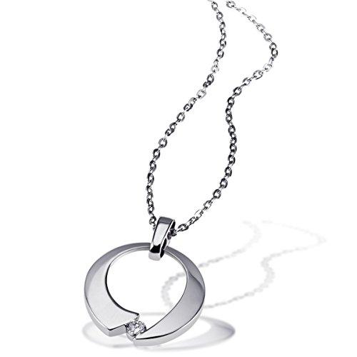 Goldmaid Damen-Kette mit Anhänger 925 Sterlingsilber rhodiniert Diamant (0.08 ct) Schmuck Diamantkette