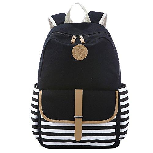 5 ALL Damen Mädchen Neu Fashion Streifen Canvas Rucksack Schulrucksack Reisetasche Casual Daypacks Cityrucksack für Universität Outdoor Freizeit 35 x 16 x 44cm (Schwarz)