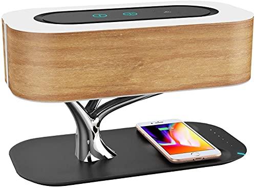 Lámpara de noche con altavoz Bluetooth y cargador inalámbrico, lámpara de mesa Touch Dimmable LED Lámpara de escritorio con Modo de suspensión Timpliss Dimagen
