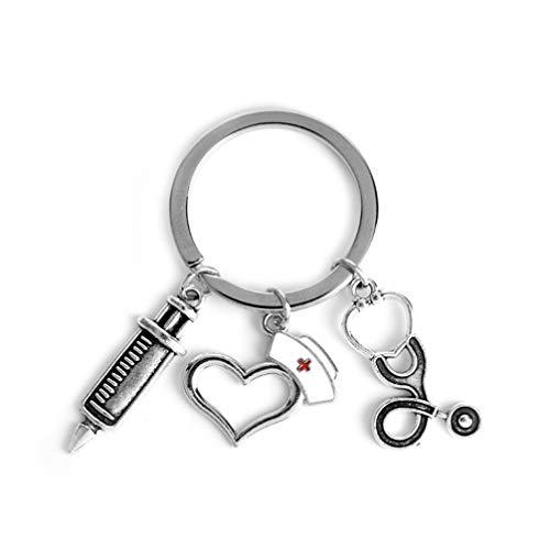 JOMSK Krankenschwester Keychain Neuheit Stethoskop Spritze Liebe Herz Krankenschwester Kappe Anhänger Schlüsselanhänger Metall Schlüsselanhänger Hängen Anhänger für Arzt Krankenschwester Geschenke