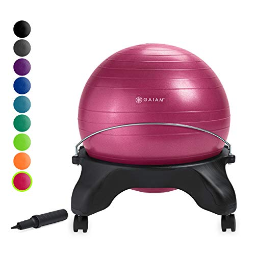 Gaiam Classic Backless Balance Ball Chair Exercise Stability Yoga Ball Premium Ergonomic Chair for Home and Office Desk with Air Pump, Exercise Guide and Satisfaction Guarantee, Fuchsia