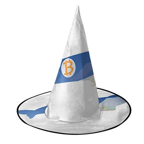 KUKHKU Bitcoin Whale Blimp Flying High Witch Hat Halloween Unisex Disfraz para da festivo Halloween Navidad Carnavales Fiesta