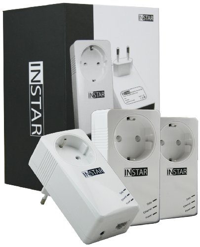 INSTAR Mini Powerline Adapter met adapter en stopcontact met stekkerdoos 3er-Set wit