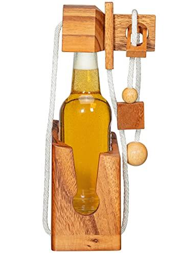 Zederello Mini botellas de cerveza puzzle de botellas de cerveza y otras botellas pequeñas, rompecabezas, caja fuerte de 0,33 litros, caja fuerte de madera, caja de regalo