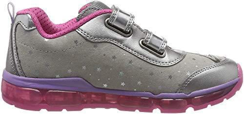 Geox Mädchen J Android Girl B Sneaker, Silber (Dk Silver/Fuchsia C1a8n), 33 EU