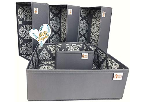 Metis London Ltd Aufbewahrungsboxen für umweltbewusste Menschen - hergestellt aus recycelten Plastikflaschen (rPET Vegan Silk & Oxford) - 5er-Set (23 l), verpackt in Einer Tyvek-Tasche