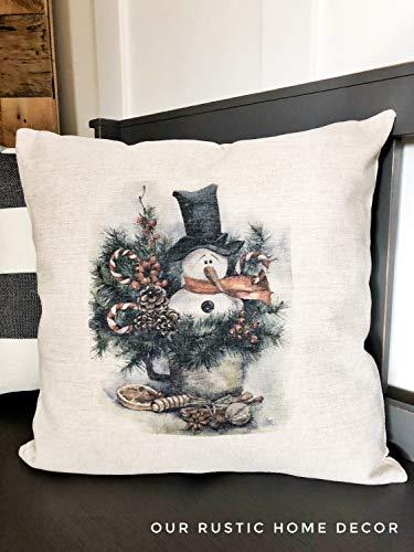 Diuangfoong Funda de almohada de decoración de muñeco de nieve – Almohadas de Navidad – Decoración de invierno – Almohada de cabina de Navidad – Decoración de vacaciones de Navidad – 30 cm x 30 cm