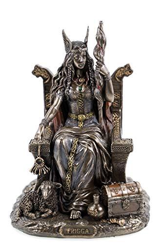 Veronese 708-7432 Frigga - Figura de la Diosa Alemana Odins sobre Thron Frigg Odin (Bronce)