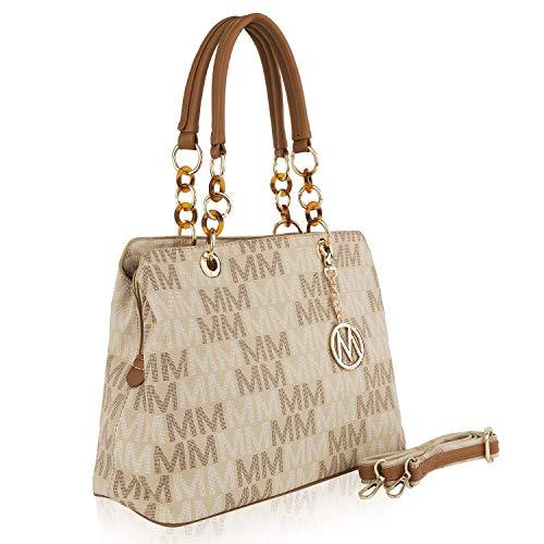 Mia K Collection Crossbody Handbag for Women, Shoulder Strap, PU Leather Cross-Body Purses, Top-Handle Satchel Tote Bag Beige