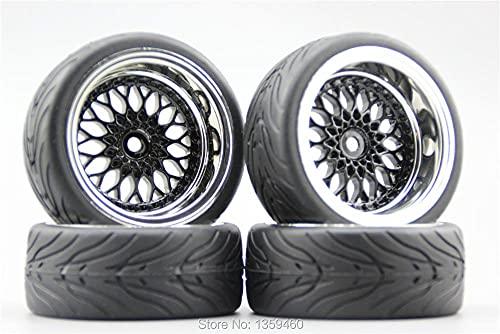 GzxLaY 4pcs 1/10 Neumático de Goma Suave para Turismo (Diablo) Llanta Y12CK Cromado + Pintura Negro 3/6 / 9mm Offset para 1:10 Touring Car10039