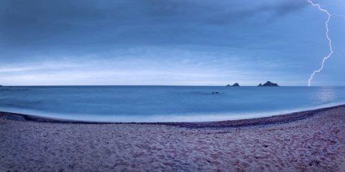 Thunderstorm at Tancau Beach, Santa Maria Navarrese, District of Baunei, Province of Ogliastra, Sardinia, Italy Giclee Art Print Poster or Canvas