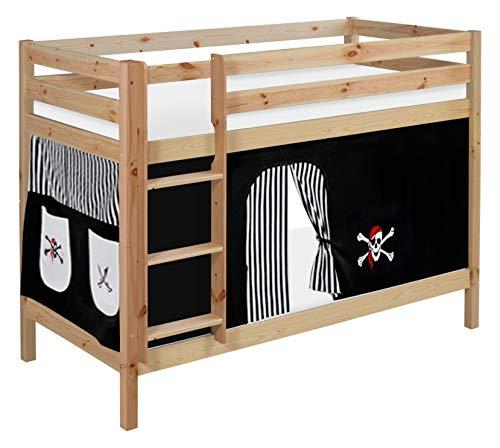FassoliShop LIT SUPERPOSE Noir 80x195 80x203x150 Hors Tout Divisible en Deux Lits pour Enfants ET Adultes