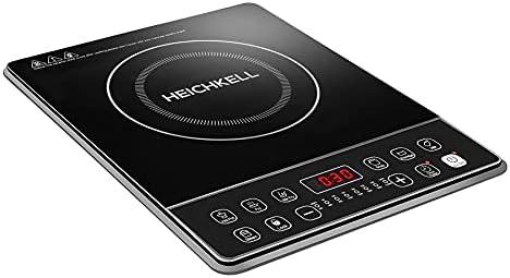 Heichkell Placa inducción, eléctrica Placa de inducción, diseño portátil Ultra Delgado, Sensor de Control táctily Cerradura de Seguridad,Temporizador,2000W