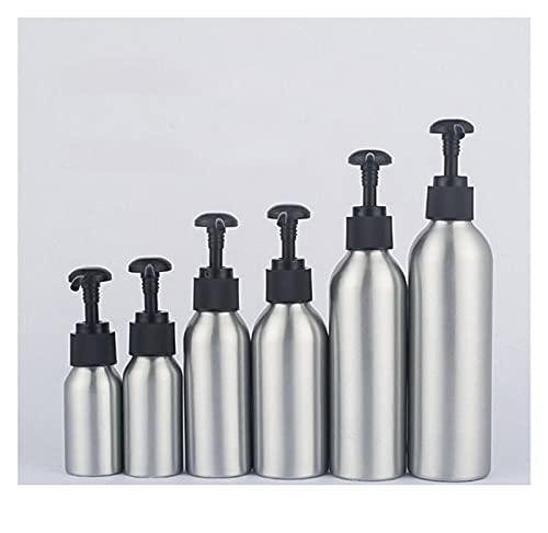 Botella de loción 1pc Aluminio Loción Bomba Botella Blanco Gorra Negro Metal Contenedor de Tina Vacío Empaquetado Cosmética Champú Loción Botella 40-250ml El plastico