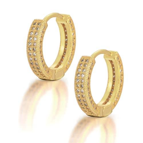 Qtwmhb Hombre y Femenino Universal Europeo y Americano Hip Hop Pendientes de círculo Microcanile con uñas de Zircon Ear y Mujeres Hip Hop Oree