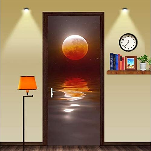 Superbe FLFK 3D Door Murals Stickers Wall Decals Red Moon Lake Self Adhesive  Wallpaper For Home
