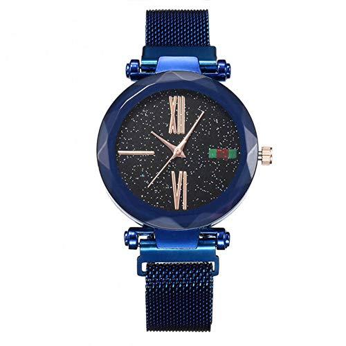 MoGist Damen Milan mit Magnetschnalle Vollsternuhr Aluminium Wasserdicht Uhr 1 STÜCKE (Blau)