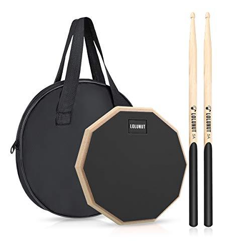 Dumb Drum Practice Pad, 2-seitig leises Übungspad, weicher Gummi, Holzsockel, mit Massivholz-Drumsticks und Übungspad Aufbewahrungstasche (8 Zoll, Schwarz)