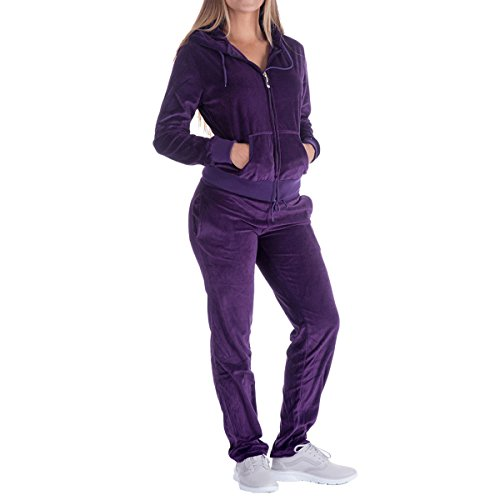 Women's Soft Velour Hoodie and Pants Tracksuit Set Sport Outfits 2 Pieces Jogging Sweatsuits (Medium, Purple)