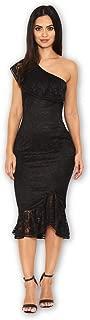 AX Paris Women's Lace One Shoulder Frill Detail Midi Dress