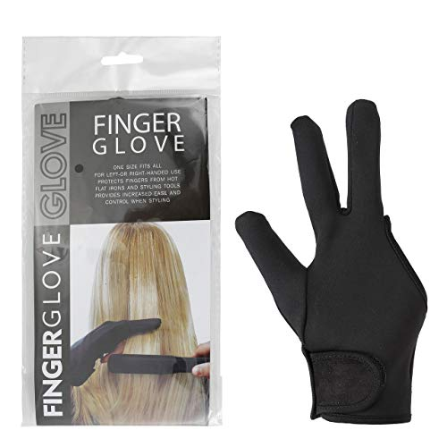 CCbeauty 2pcs Hair Dye Gloves Reusable Heat Resistant Gloves 3 Finger Mittens for Hair Styling,Curling Wand and Flat Iron,Black,22CM