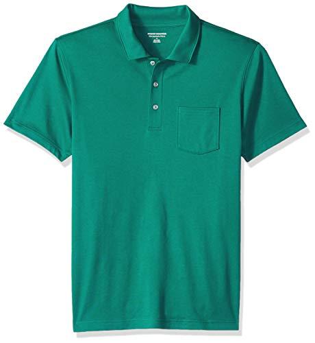 Amazon Essentials Men's Slim-Fit Pocket Jersey Polo, Hunter Green, Large