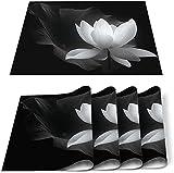 Tovagliette, tovagliette resistenti al calore Fiore di loto bianco Tappetini antiscivolo lavabili in PVC Decorazione per tavolo da pranzo cucina bianca nera - Set di 4