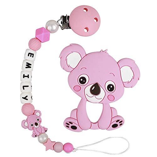 Clip Ciuccio con Nome Personalizzata Procione Massaggiagengive Porta ciuccio BPA Gratuito Baby Shower Regali (Koala Rosa)