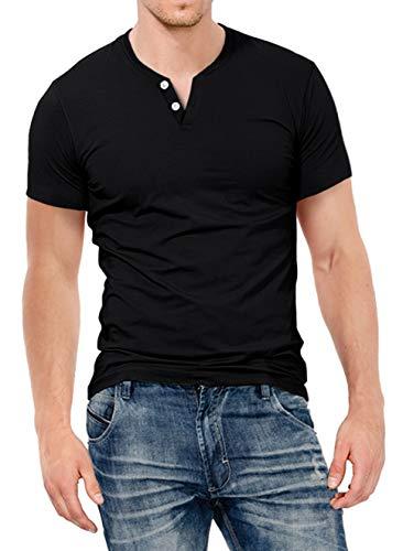 KUYIGO Mens Slim Fit Short& Long Sleeve Beefy Fashion Casual Henley T Shirts of Cotton Shirts