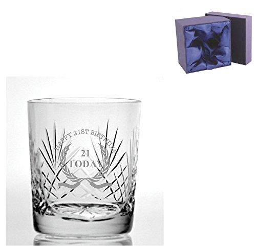 Knip Crystal 9oz Whisky Glass met Happy 21st Birthday Wreath Design - Zijde gevoerde Presentatie Box inbegrepen