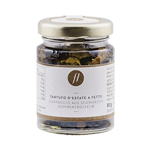 Feinkost Luigi - Trüffel Carpaccio, echte schwarze Trüffelscheiben eingelegt in hochwertigem nativen Olivenöl (80g)