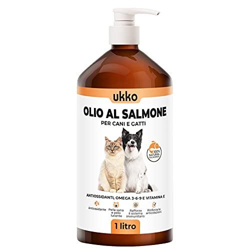 Ukko Olio di Salmone per Cani e Gatti 100% Naturale - Salmone spremuto a Freddo Ricco di Omega 3-6-9 e Vitamina E - Alimento complementare al Cibo dei Tuoi Animali - Comodo Erogatore 1 Litro