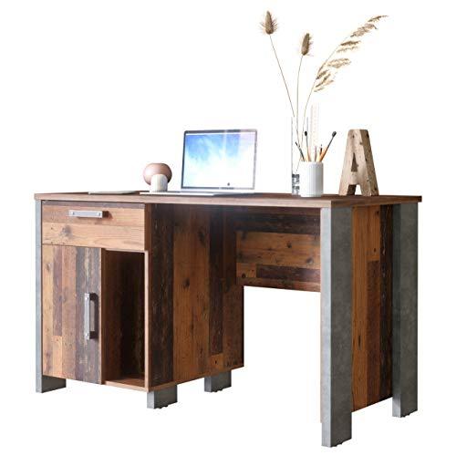 Newfurn Schreibtisch Klein Betonoptik Dunkelgrau Old Wood Computertisch Vintage Industrial - 126,5x73,5x60 cm (BxHxT) - PC Tisch Laptoptisch - [Kane.Three] Wohnzimmer Schlafzimmer