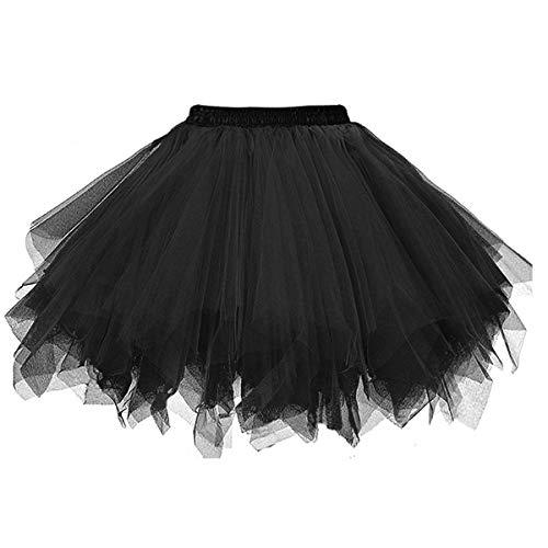 Msrlassn Damen Tüllrock tütü Rock 50er Rockabilly Petticoat Tutu Unterrock Kurz Ballett Tanzkleid Cosplay Ballkleid Abendkleid (Schwarz, S-M)
