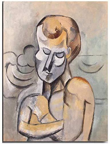 Tela De Lienzo 50x70cm Sin Marco Picasso hombre con los brazos cruzados cartel Picasso aceite abstracto Picasso sala de estar decoración del hogar