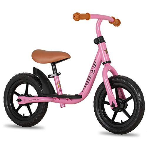 """JOYSTAR 12 Inch Kids Balance Bike for 3 4 5 Year Old Boys Girls 12"""" Child Glider Bicycles Training Bikes Without Pedal Push Bike for Children Toddler Birthday Gifts Presents Pink"""