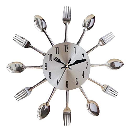 Nihlsen Stainless Steel Knife Fork Spoon Kitchen Restaurant Wall Clock Home Decoration Wall Clocks Multifunctional Tools