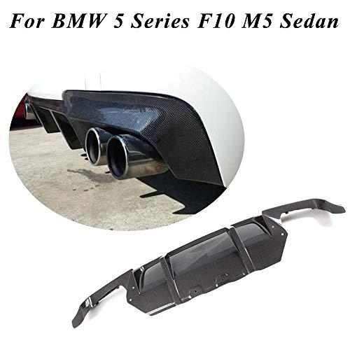 JC SPORTLINE Fits for BMW 5 Series F10 M5 Sedan 2012-2017 Carbon Fiber Rear Bumper Cover Lower Lip CF Diffuser Quad Muffler Dual Outlet